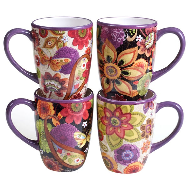 Certified International Coloratura Assorted Design Mugs (Set of 4)