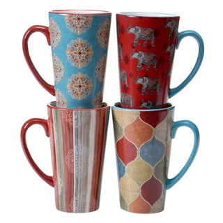 Certified International Spice Route Assorted Design 16-ounce Latte Mugs (Set of 4)