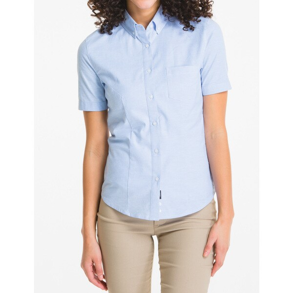 Lee Juniors' Blue Oxford Short Sleeve Blouse