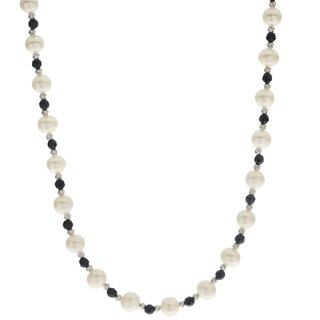 Pearls For You Sterling Silver White Freshwater Pearl With Gemstone and Brilliance Bead 18-inch Necklace