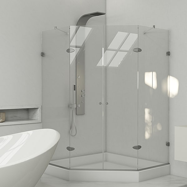 VIGO Gemini Frameless Shower Enclosure with Base