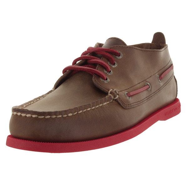Sperry Top-Sider Men's Authentic Original Chukka Neon Dark Brown/Red Boat Shoe