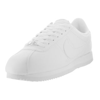 Nike Men's Cortez Basic Leather White/White/Wlf /Metallic Silver Casual Shoe