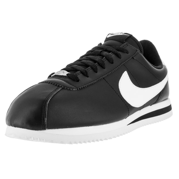 Nike Men's Cortez Basic Leather Black/White/Metallic Silver Casual Shoe