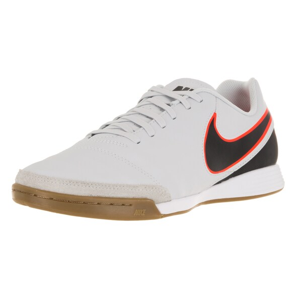 Nike Men's Tiempo Genio Ii Leather Ic Pure Platinum/Black/Hyper Orange Indoor Soccer Shoe