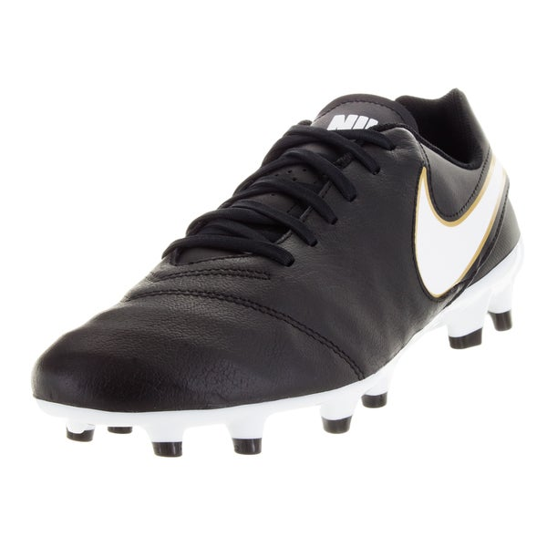 Nike Men's Tiempo Genio Ii Leather Fg Black/White/Metallic Gold Soccer Cleat
