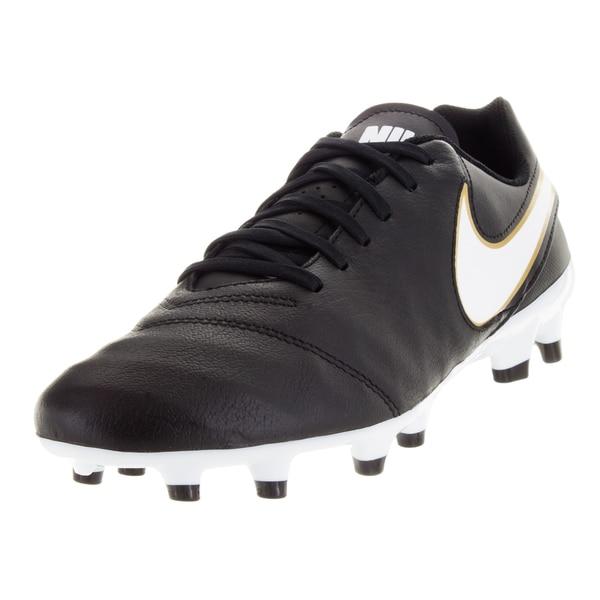Nike Men's Tiempo Genio Ii Leather Fg Black/White/Metallic Gold Soccer Cleat