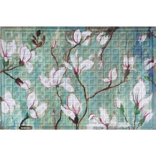 Oakland Collection White Blossoms 24-inch x 36-inch Polyester Nonslip Indoor/Outdoor Doormat