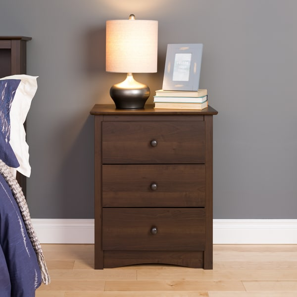 Everett Espresso 3-drawer Tall Nightstand