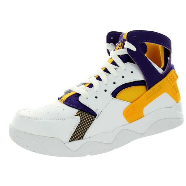 Nike Men's Air Flight Huarache White/University Goldurple Basketball Shoe