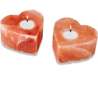 Zennery Himalayan Salt Heart Shaped Candle Holders