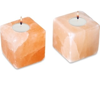 Zennery Himalayan Salt Cube-shaped Candle Holders