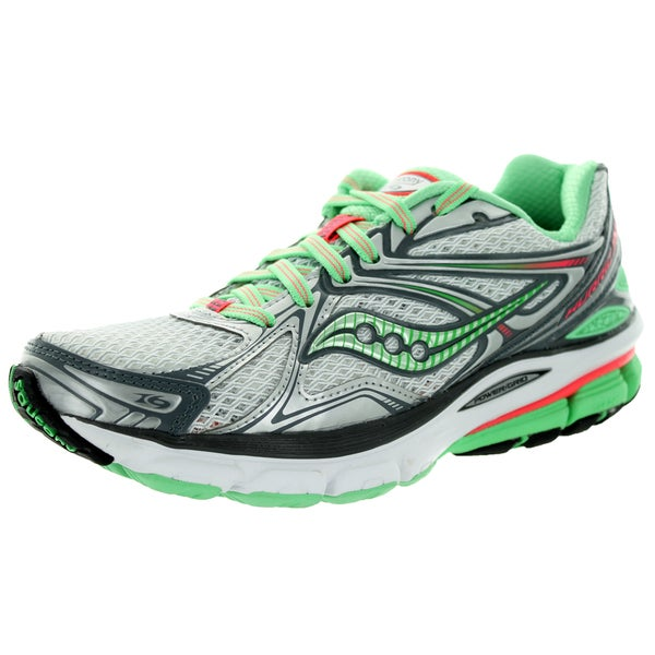 Saucony Women's Hurricane 16 Grey/Green/Pink Running Shoe