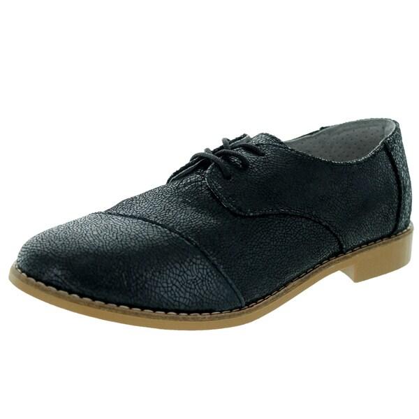 Toms Women's Brogue Black Crackled Casual Shoe