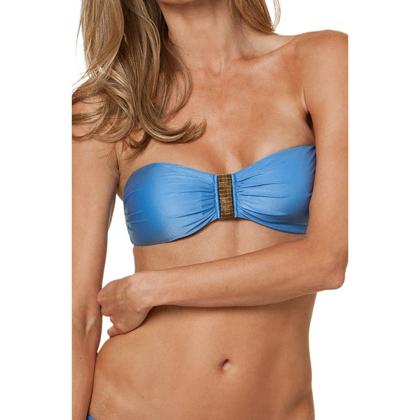 Vix Light Blue Gold Detail Square Bandeau Bikini Top