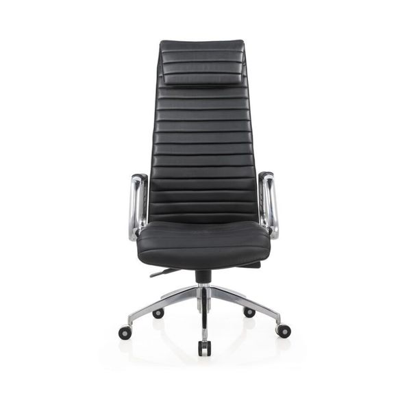 Oxford Chrome/Black Faux Leather Executive High-back Office Chair