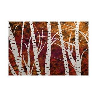 2 x 3-Feet, Birch Trees, Floral Print Indoor/Outdoor Rug