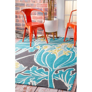 nuLOOM Handmade by Thomas Paul Floral Outdoor Blue Rug (5' x 8')