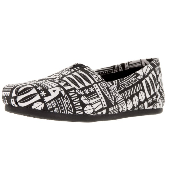 Toms Women's Classic Black White/Canvas Tiki Casual Shoe