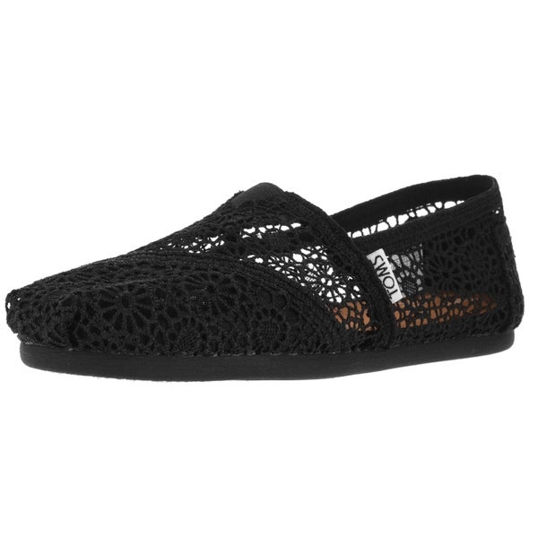 Toms Women's Classic Moroccan Crochet Black Casual Shoe