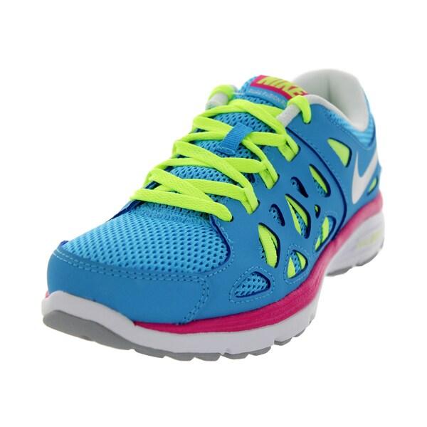 Nike Kids Dual Fusion Run 2 (Gs) Vivid Blue/Metallic Silver/Vlt Ic/Wd P Running Shoe