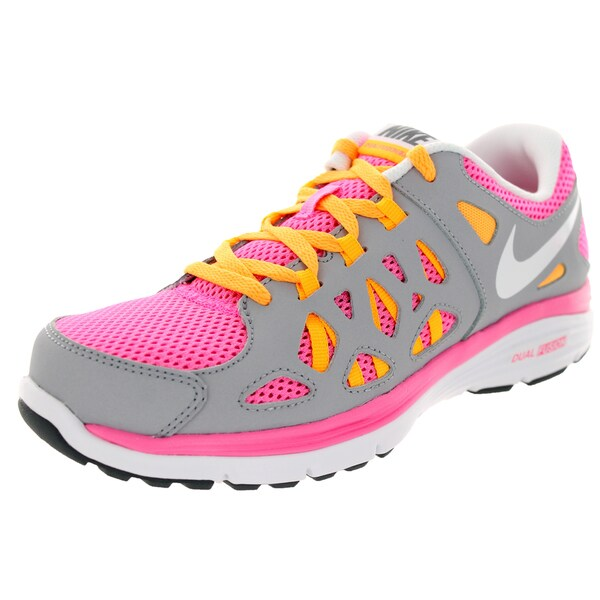 Nike Kids Dual Fusion Run 2 (Gs) Pink Glw/White/Wlf /Atmc Mng Running Shoe