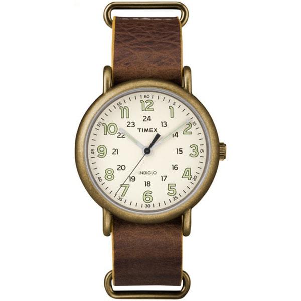 Timex Men's TW2P857009J Weekender Oversized Antiqued Brass Case Brown Leather Slip-through Strap Watch