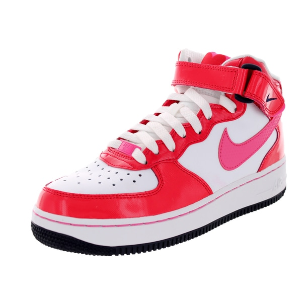 Nike Kids Air Force 1 Mid (Gs) White/Dynmc Pink/ Rd/Drk Ob Basketball Shoe