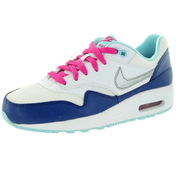 Nike Kids Air Max 1 (Gs) White/Mlc Silver/Vvd Pink/Cp Running Shoe