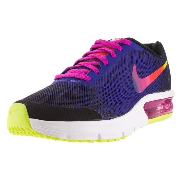 Nike Kid's Air Max Sequent Print (Gs) Black/Deep Night/Fire Pink/Vlt Running Shoe