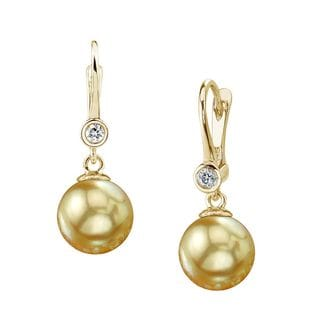 Radiance Pearl 14k Gold Golden South Sea Pearl and Diamond Earrings (9-10mm/ 10-11mm. 11-12mm)