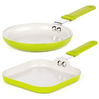 Cook N Home 5.5-inch x 5.5-inch Green 2-piece Nonstick Ceramic Coating Mini Size One-egg Fry Pan & Square Toast Griddle Pan