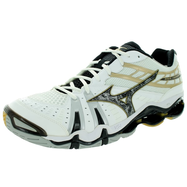 Mizuno Men's Wave Toado 7 White Black And Gold Volleyball Shoe