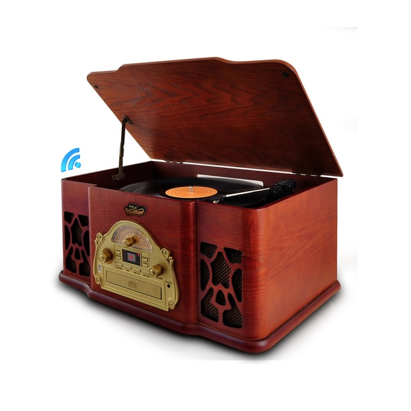 Pyle PTCD64UBT Bluetooth Classic Vintage Style Turntable Speaker System, CD Player, Vinyl-to-MP3 Recording, MP3/USB/AM/FM Radio
