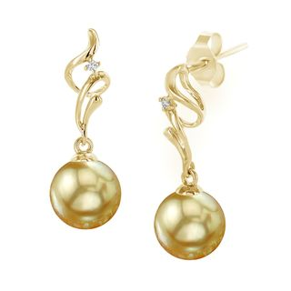 Radiance Pearl 18k Gold Golden South Sea Pearl and Diamond Earrings (8-9mm/ 9-10mm/ 10-11mm)