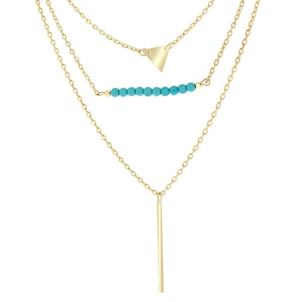 18K Gold Plated Genuine Turquoise Triangle and Bar Charm Necklace
