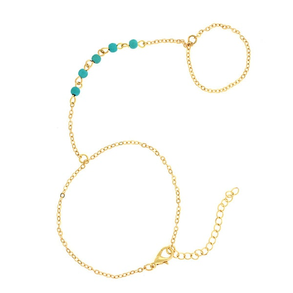 18K Gold Plated Genuine Turquoise Finger Bracelet