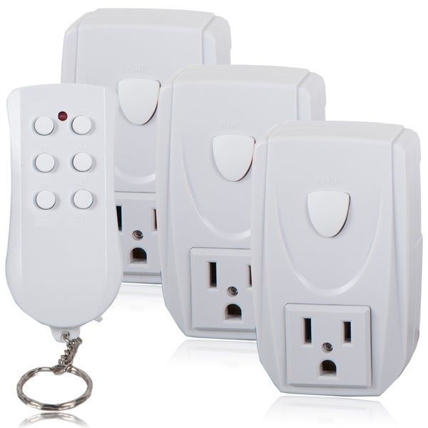 Maxxima White Programmable Wireless Outlet Remote Control System (Pack of 3)