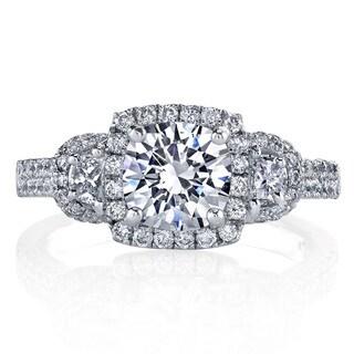 Lihara and Co. Platinum 3/4ct TDW Diamond Semi-Mount Engagement Ring (G-H, VS1-VS2)