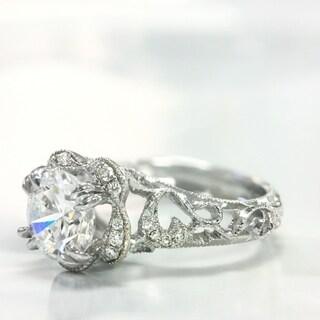 Lihara and Co. 18k White Gold 1/5ct TDW Diamond Semi-Mount Engagement Ring (G-H, VS1-VS2)