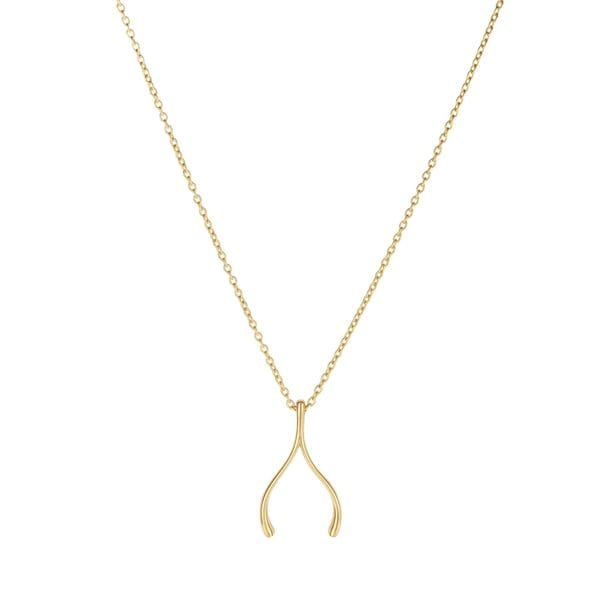 14k Yellow Gold Wishbone Pendant With 17-inch Oval Link Chain