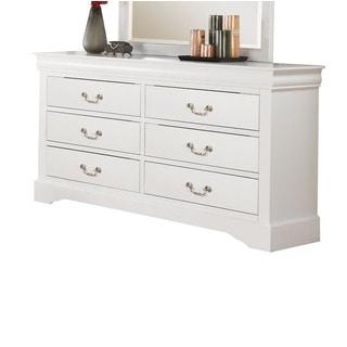 Louis Philippe III White 6-Drawer Dresser