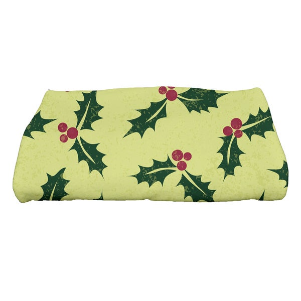 28 x 58-inch, Allover Holly, Floral Print Bath Towel
