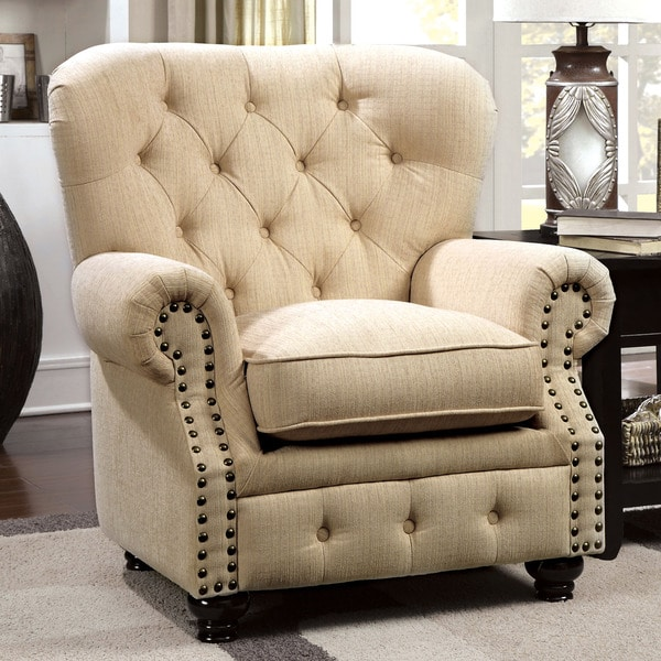Furniture of America Staffers Traditional Deep Tufted Arm Chair