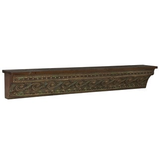 Household Essentials Wood Decorative Wall Shelf with Painted Banana Skin