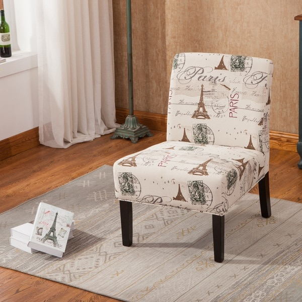 Goodale Script Linen Armless Contemporary Oversize Accent Slipper Chair