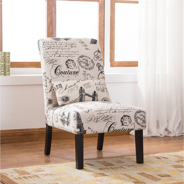 Pisano Script Linen Print Fabric Accent Chair with Pillow