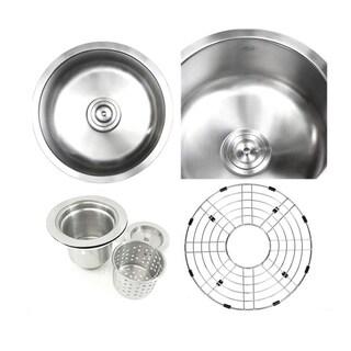 Ariel Pearl Satin 17-inch Premium 16-gauge Round Stainless Steel Undermount Single Bowl Island/Bar/Kitchen Sink