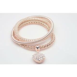 18k Rose Gold Overlay Crystal Popcorn Triple Heart Bracelet