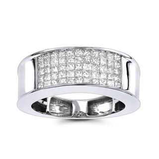 Luxurman 14K Gold Mens 1 carat Diamond Band Princess Cut 1.00ct (G-H; SI1-SI2)